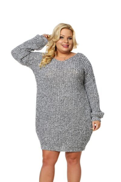 Sweter CATRINE SIZE jasny szary