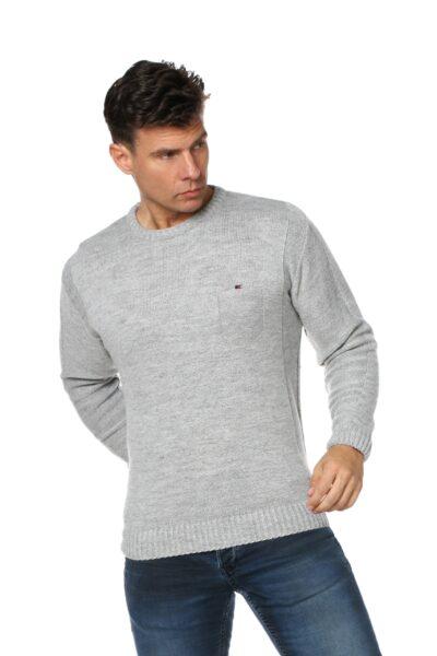 Sweter CREW jasny szary