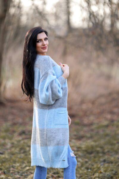Długi Kardigan Szaro-Błękitny